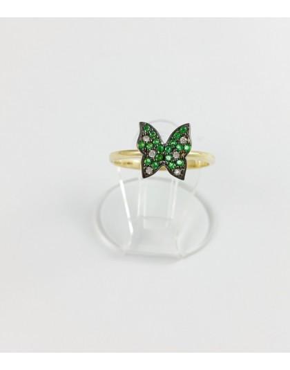 Złoty pierścionek zielony motyl r 12