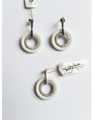 Komplet biżuterii ze srebra o białej ceramiki