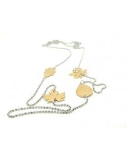 Srebrny naszyjnik ze złoconymi listkami
