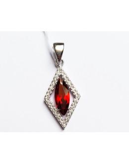 Komplet biżuterii romby z czerwonymi cyrkoniami