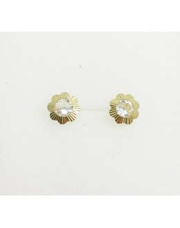 Złote kolczyki kwiatki z cyrkoniami