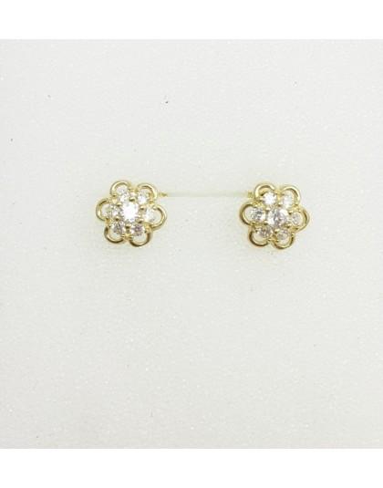 Złote kolczyki kwiatuszki na sztyfcie