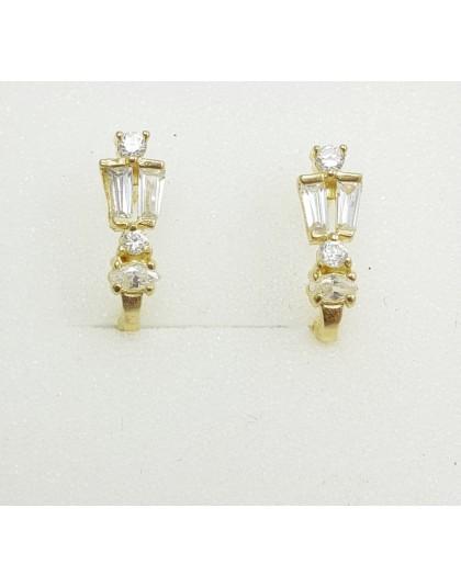 Złote kolczyki z białymi cyrkoniami angielskie zap.