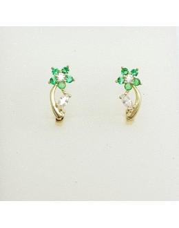 Złote kolczyki zielone kwiatki angielskie zapięcie