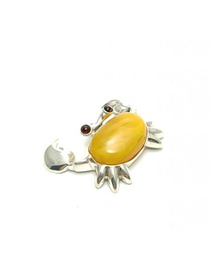 Wisior krab ze srebra i miodowego bursztynu