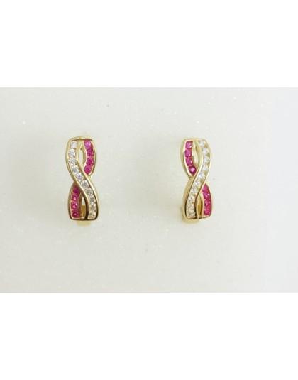 Złote kolczyki nieskończoność różowe cyrkonie