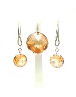 Piękny komplet kryształy w srebrze