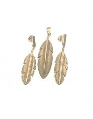 Komplet biżuterii ptasie pióra