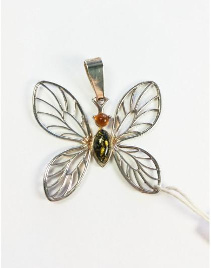 Zawieszka ażurowy motyl z bursztynem