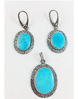 Komplet biżuterii z turkusami