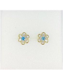 Złote kwiatuszki z niebieskimi cyrkoniami