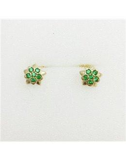 Złote kolczyki zielone gwiazdeczki