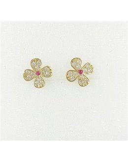 Złote kolczyki kwiatuszki z różową cyrkonią