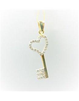 Złota zawieszka kluczyk z cyrkoniami