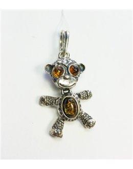 Zawieszka małpka 3D z bursztynem