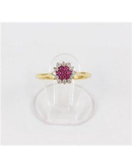 Zloty pierścionek z różowymi cyrkoniami r 12