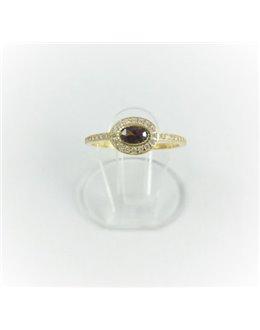 Złoty pierścionek z brązową cyrkonią r 15