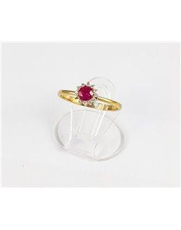 Złoty pierścionek z malinową cyrkonią r 15