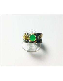 Oryginalna obrączka z zielonym agatem