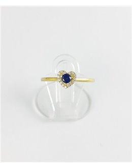 Złoty pierścionek granatowe serduszko r 16