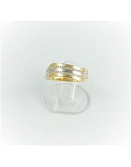 Złota falowana obrączka z cyrkoniami r 16