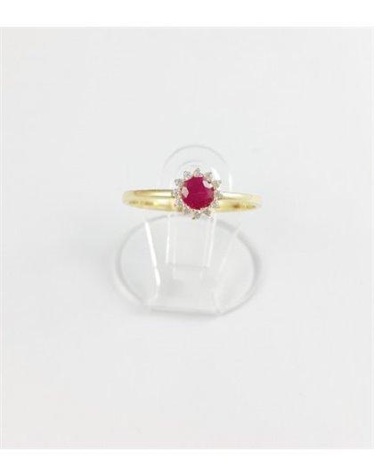 Złoty pierścionek z różową cyrkonią r 16