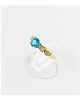 Elegancki pierścionek z turkusową cyrkonią r 14,5