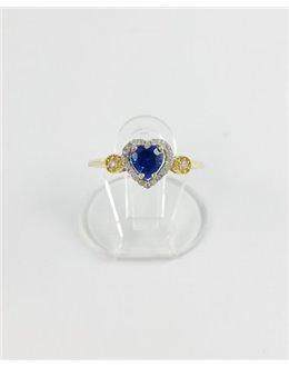 Uroczy złoty pierścionek granatowe serduszko r 14