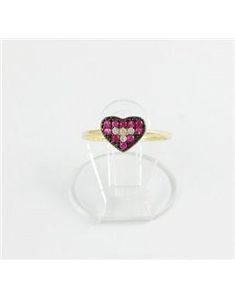 Złoty pierścionek czarno-różowe serce r 11
