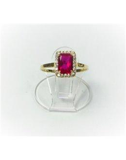 Złoty pierścionek z różowym prostokątem r 14,5