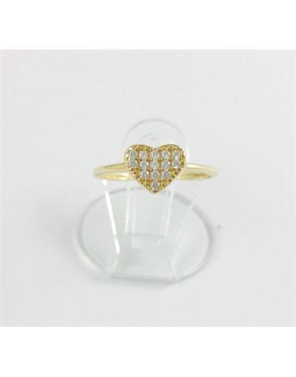 Złoty pierścionek serce wysadzane cyrkoniami r 12