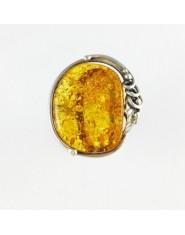 Okrągły pierścionek z miodowym bursztynem