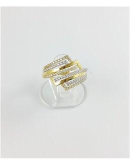 Złoty pierścionek z cyrkoniami r 16