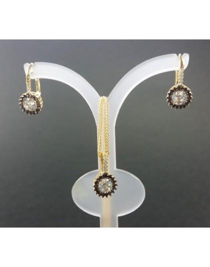 Komplet złotej biżuterii z czarnymi cyrkoniami