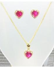 Komplet złotej biżuterii różowe serduszka