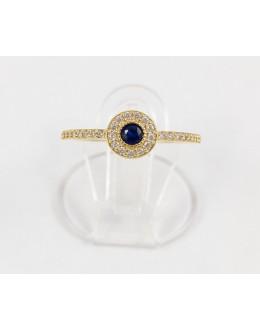 Złoty pierścionek z granatową cyrkonią r 13