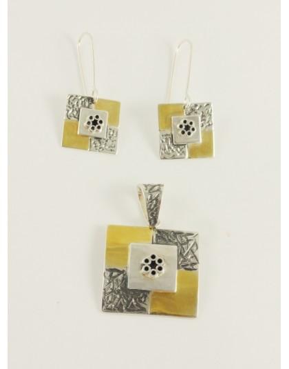 Komplet złocone kwadraty