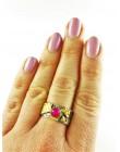Obrączka z różowym agatem