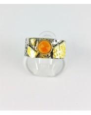 Obrączka z pomarańczowym karneolem