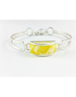 Bransoletka z matowego srebra z żółtym bursztynem