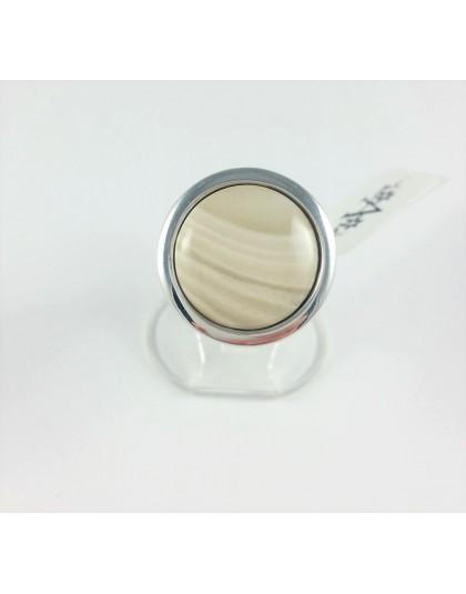 Okrągły pierścionek z krzemieniem pasiastym 2 wzory