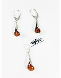 Komplet biżuterii lilijki z koniakowym bursztynem