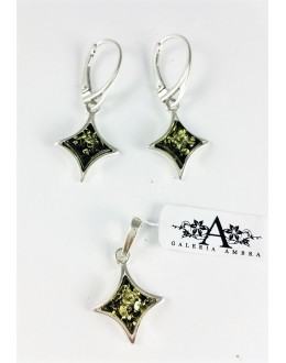 Komplet biżuterii bursztynowej gwiazdki  - 4 kolory