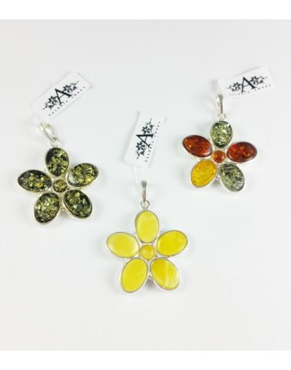 Zawieszki bursztynowe kwiaty - 3 wzory