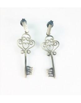 Kolczyki klucze z oksydowanego srebra