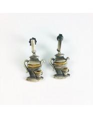 Kolczyki czajniczki z oksydowanego srebra
