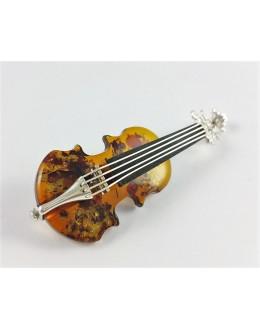 Niezwykła broszka bursztynowe skrzypce