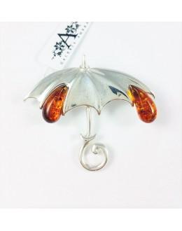 Broszka parasol z trzema kroplami bursztynu